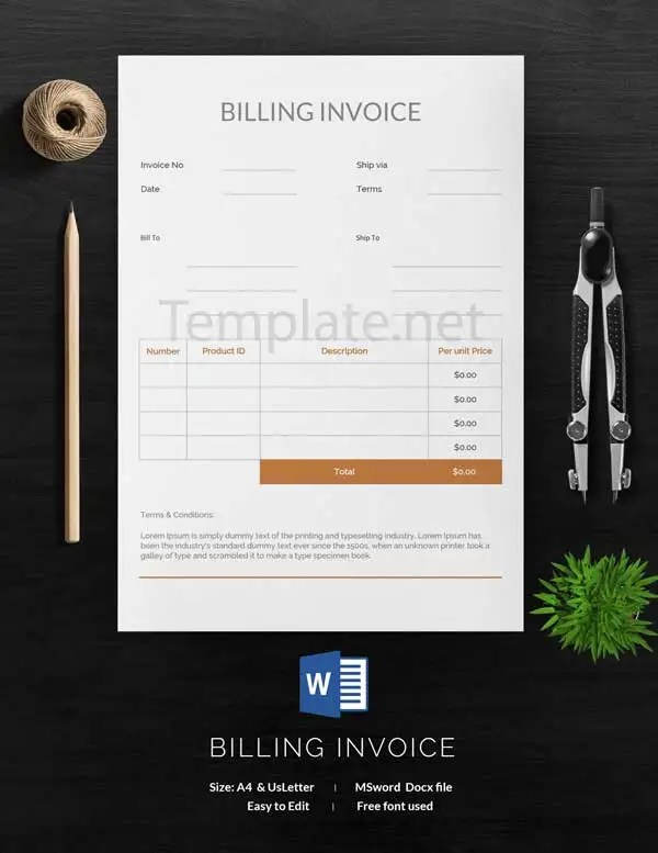14  Free Invoice Templates   Business  Service  Proforma  Blank     Billing Invoice Template