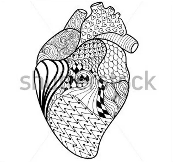 human heart coloring page # 16