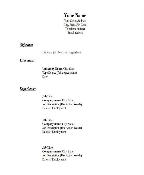 simple resume format samples
