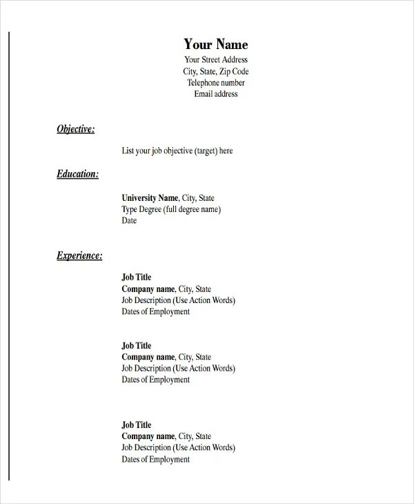 Simple Resume Format Pdf - Resume Sample