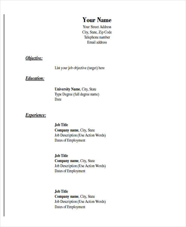 6 Basic Resume Format Template Free Word Pdf