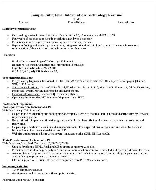 Bon It Resume Format Template 7 Free Word Pdf