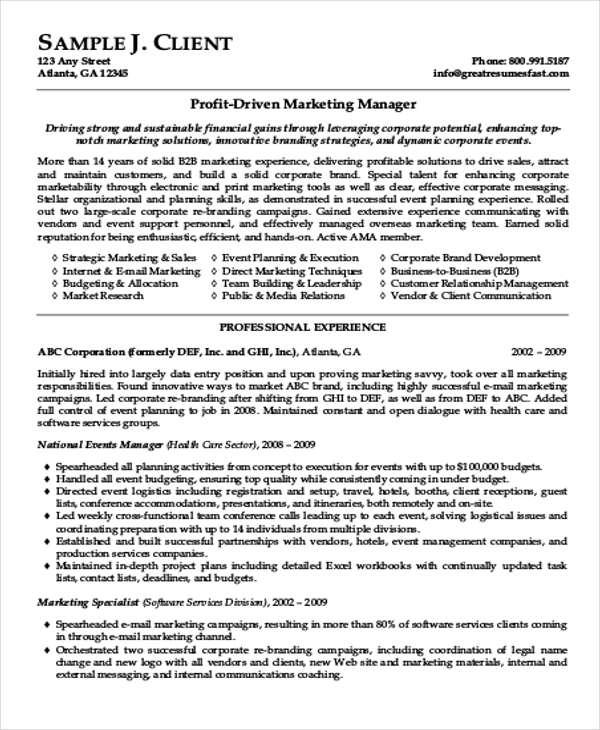 marketing resume format template 7 free word pdf