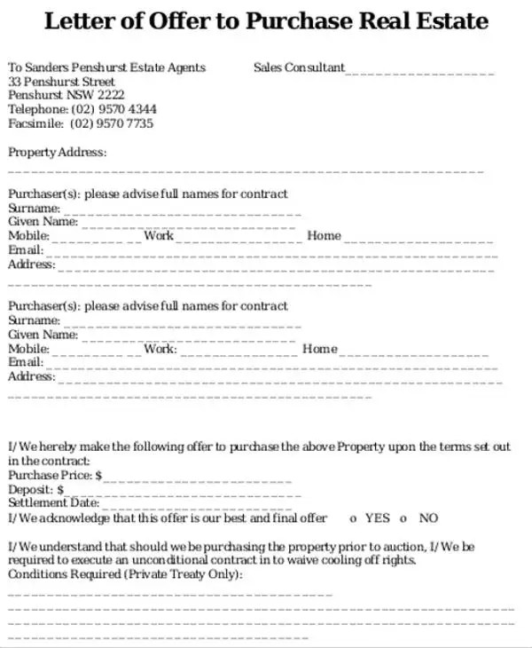8 Real Estate Offer Letter Template 9 Free Word Pdf