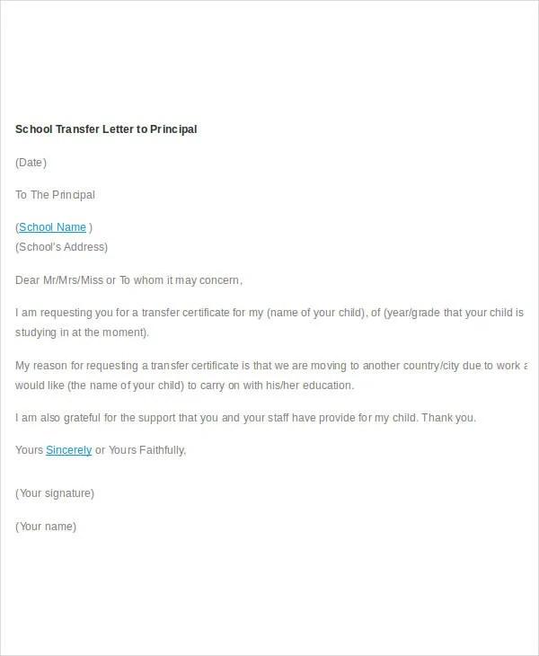 10 School Transfer Letter Templates PDF DOC Free Amp Premium Templates