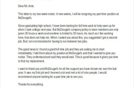 resignation letter from fulltime to part time free professional