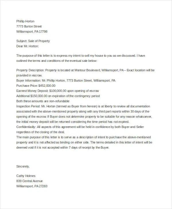 Property Offer Letter Templates 10 Free Word Pdf Format