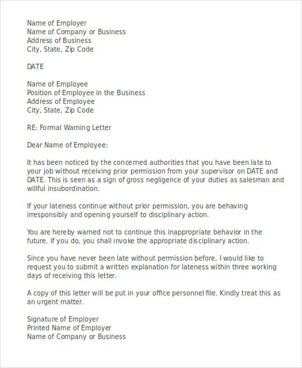 Final warning letter to employee for late coming docoments ojazlink late warning letter template 6 free word pdf format pronofoot35fo Choice Image