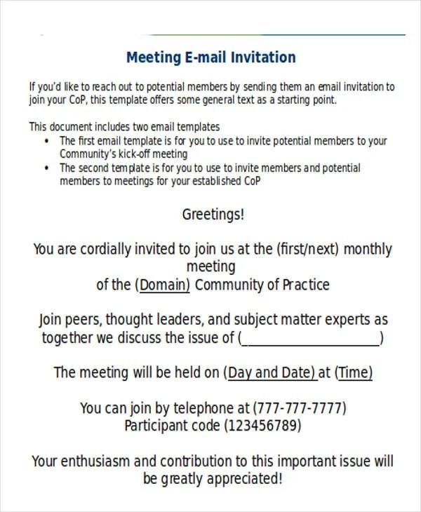 meeting invitation mail template : Cogimbo.us