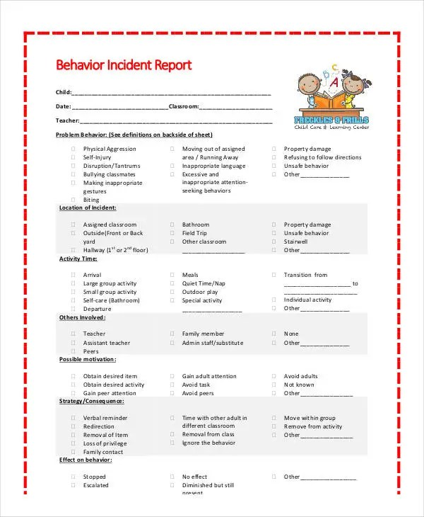 Behavior Incident Report Form