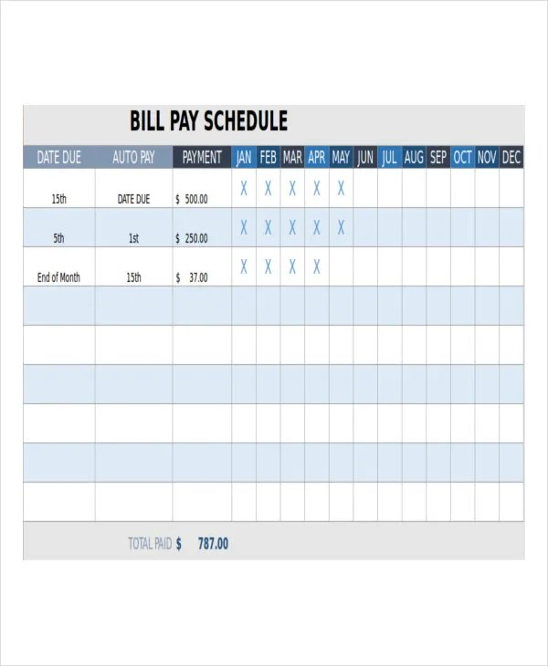 Monthly Bill Payment Template