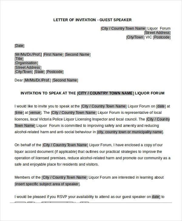 Guest Speaker Invitation Letter Template