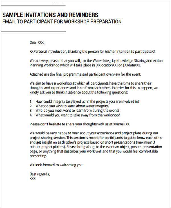invitation letter for training session. Black Bedroom Furniture Sets. Home Design Ideas