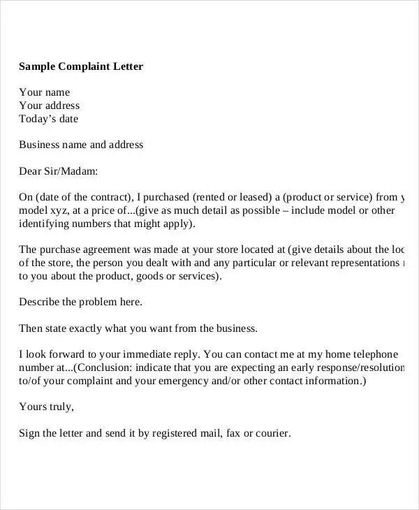 business complaint letter format - Mersn.proforum.co