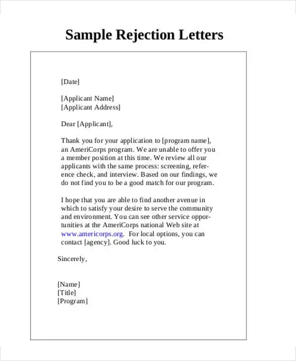 Rejection Letter Template  Docoments Ojazlink