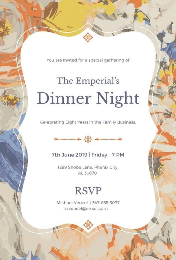 8 Dinner Invitation Card Templates PSD AI Vector EPS