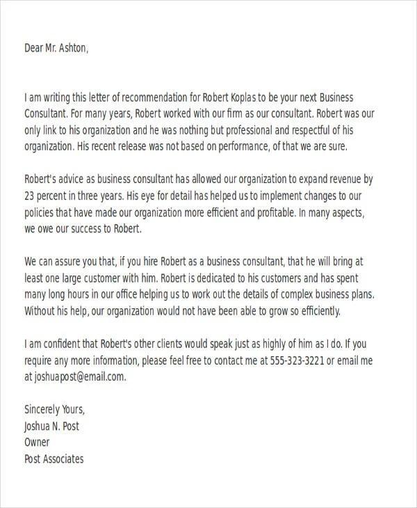 Sample Business Letter Of