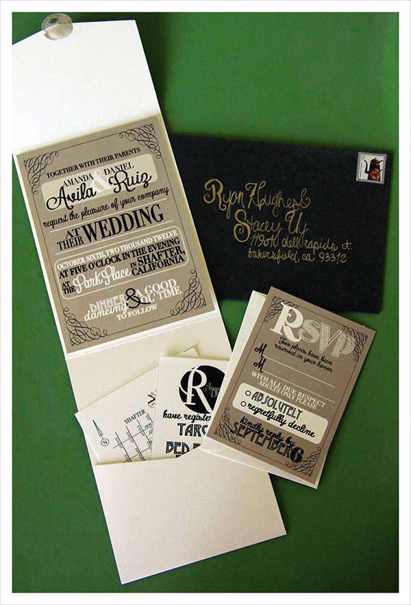 Rustic Blank Wedding Invitations