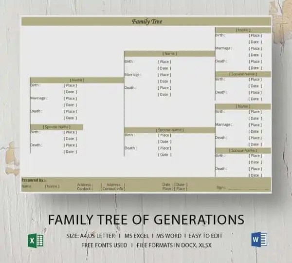 Simple Family Tree Template 25 Free Word Excel PDF Format Download Free Premium Templates