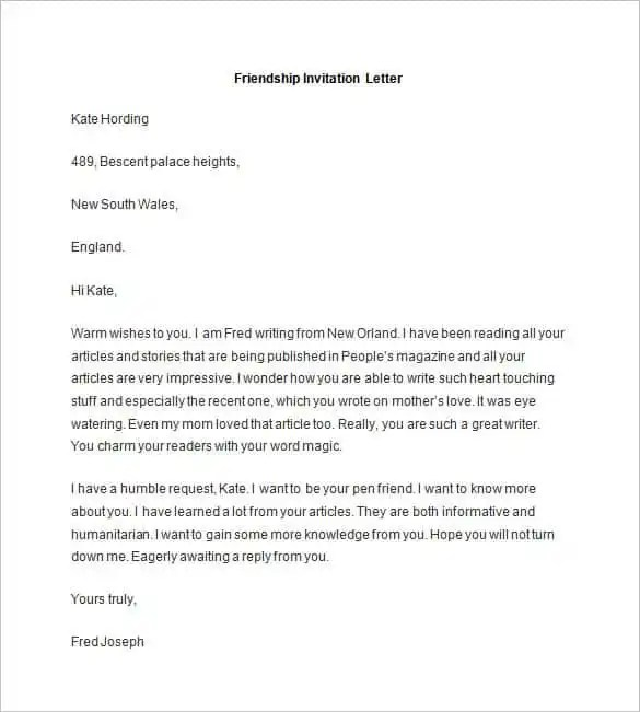 Sle Friendship Invitation Letter