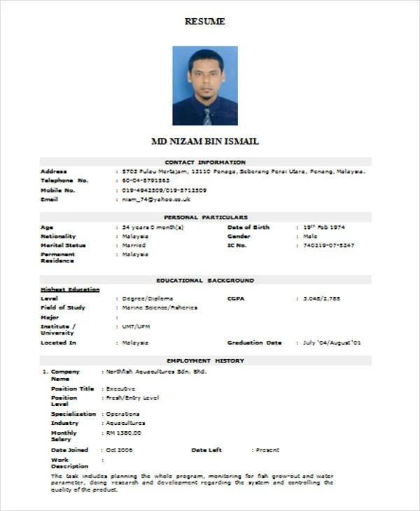 Resume Formate Resume Sample - Esume Formats