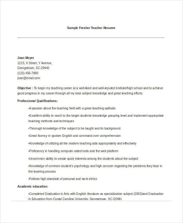 Resumes For Teaching Jobs Resume Sample