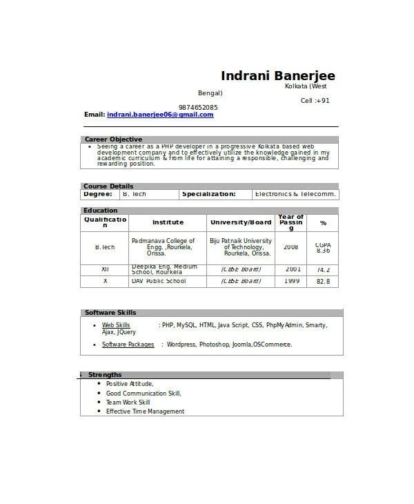 21 Fresher Resume Templates PDF DOC Free Amp Premium Templates