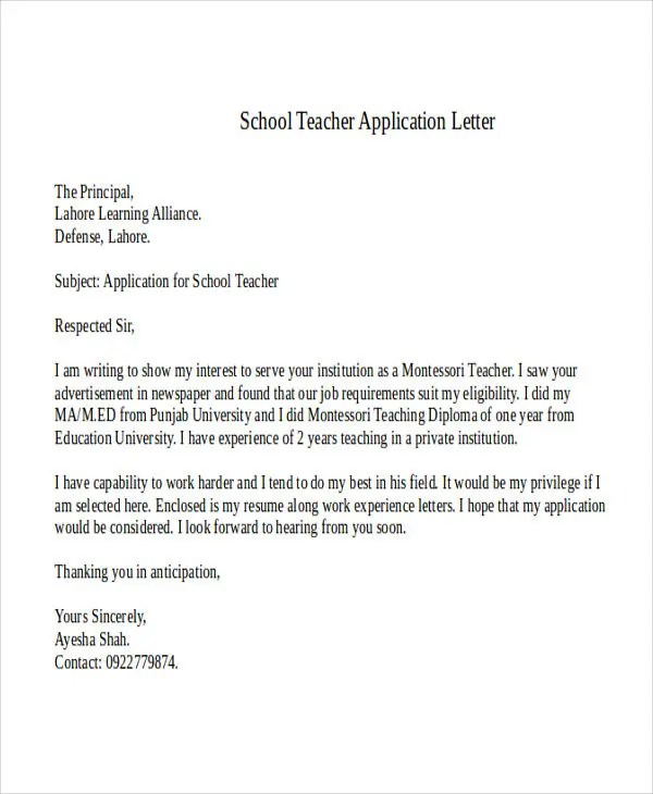 Application Letter Teacher School