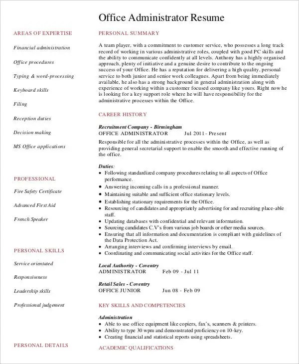 29 Administration Resume Samples PDF DOC Free
