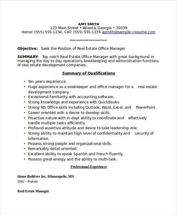 real estate office manager resume resume sample