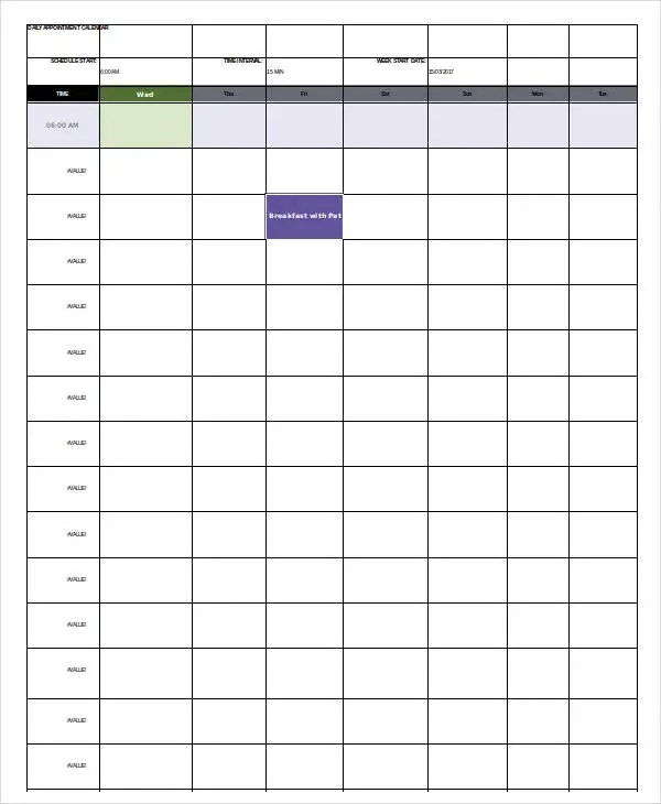Daily Calendar Template 4 Free Word Pdf Documents