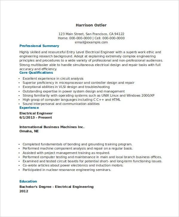 electrical engineering resumes resume sample