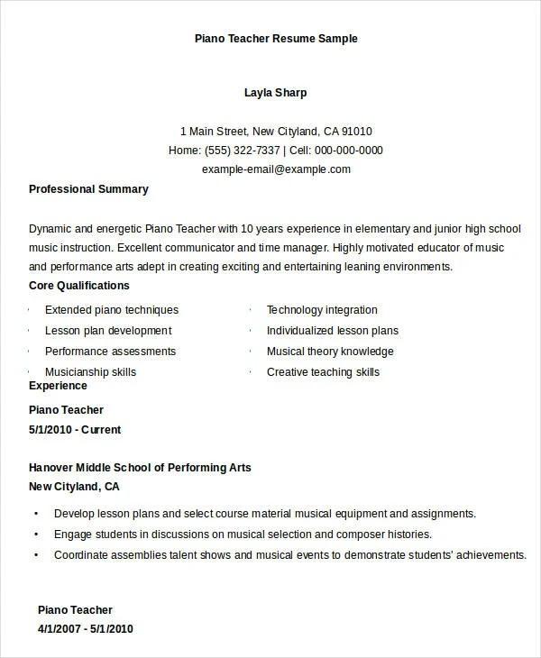 teacher resumes 26 free word pdf doents - Teacher Achievements For Resume