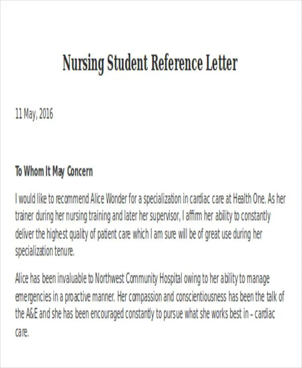 Nursing Reference Letter Templates 12 Free Word Pdf