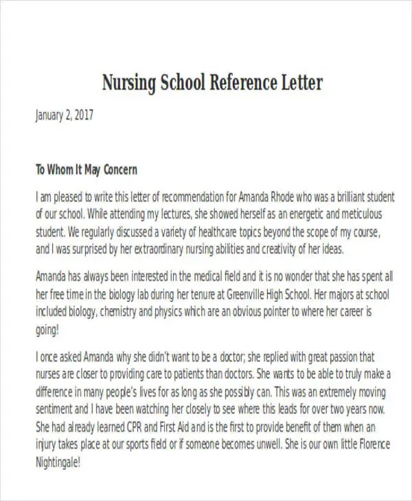 Nursing School Recommendation Letter