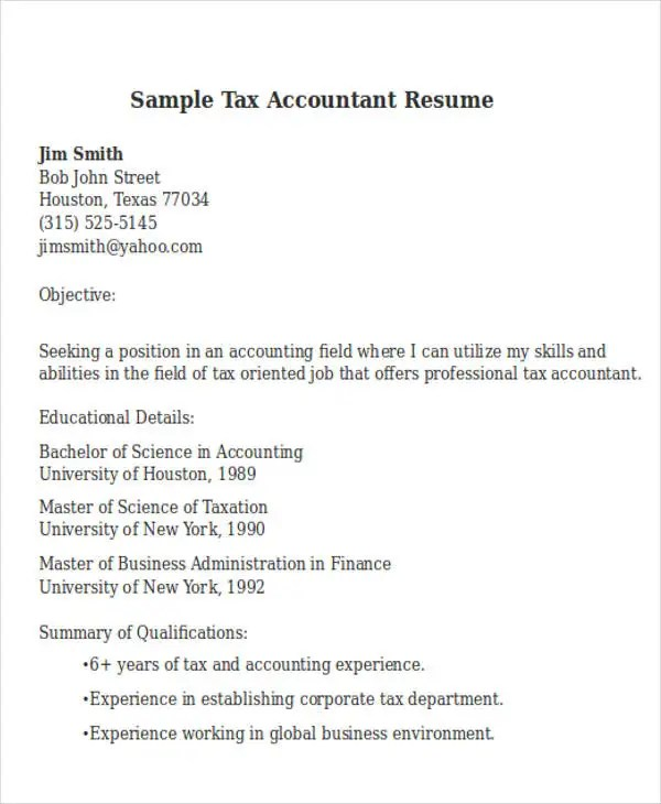 30 Accountant Resume Templates Download Free Amp Premium