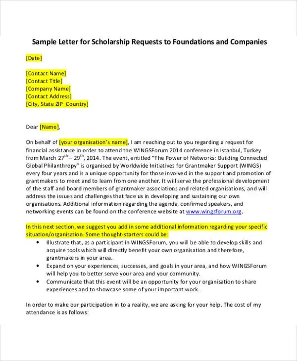sample scholarship request letters