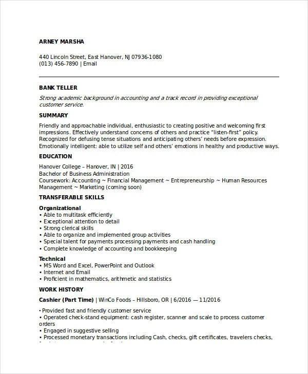 Banking Resume Samples 45 Free Word Pdf Doents