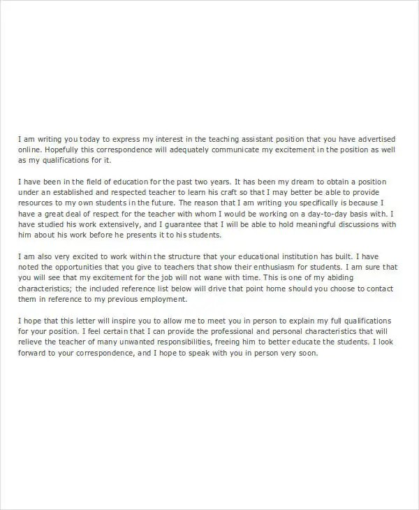 14 Assistant Job Application Letters Free Word PDF Format Download Free Amp Premium Templates