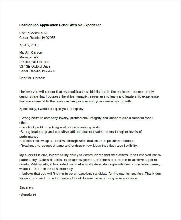 40 Job Application Letters Format Free Premium Templates