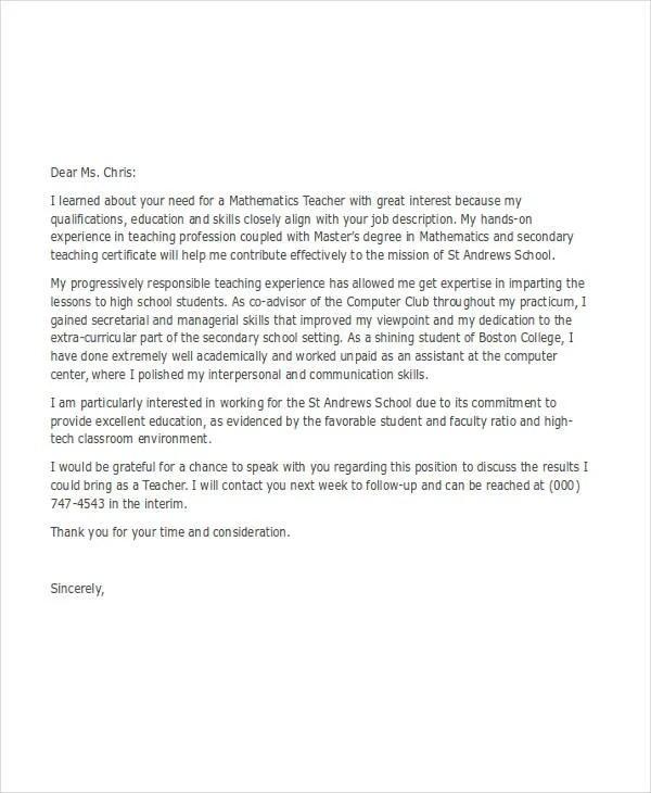job application letter samples for teacher howtoviews co