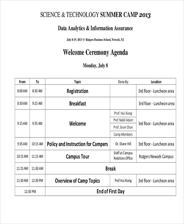 Ceremony Agenda Templates 9 Free Word Pdf Format