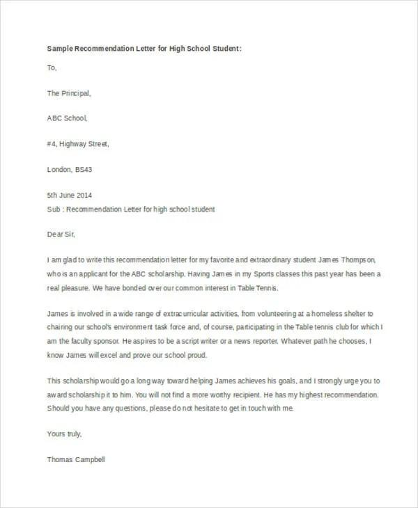 high school recommendation letter for scholarship textpoems org