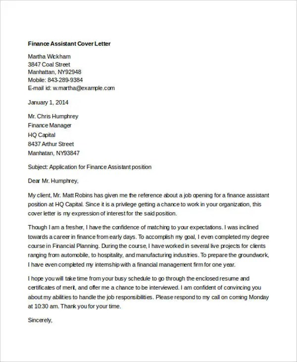 Mba Cover Letter Exle