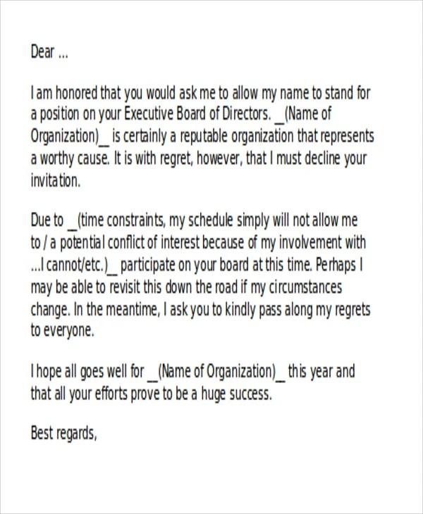 Letter Donation Rejection Sample