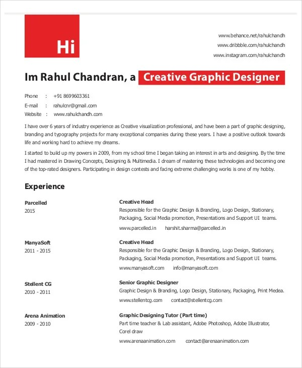 Graphic Designer Resume Template 11 Free Word Pdf Format