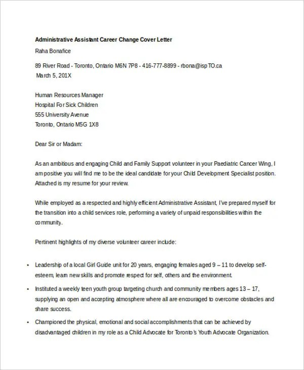 Career Change Cover Letters