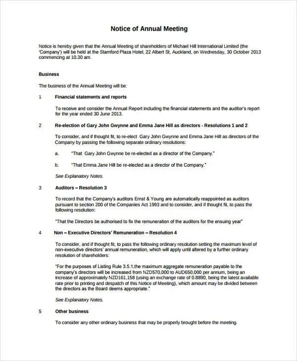 11 Meeting Notice Templates Pdf Google Docs Ms Word