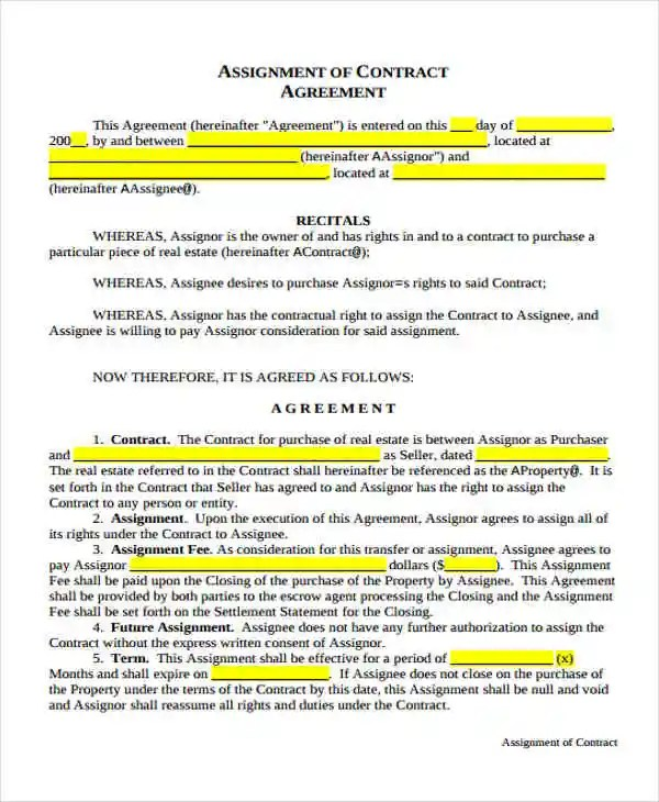 17 Assignment Agreement Templates Word PDF Pages Free Premium Templates