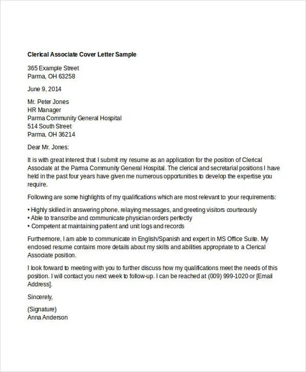 Clerical Job Cover Letter